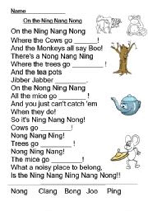 printable version ning nang nong english worksheets on the ning nang nong