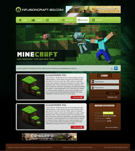 Free Simple Minecraft Template By Mconev On Deviantart Minecraft Website Template