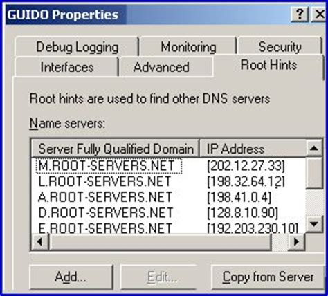 configure xp root directory managing and troubleshooting root hints in windows server