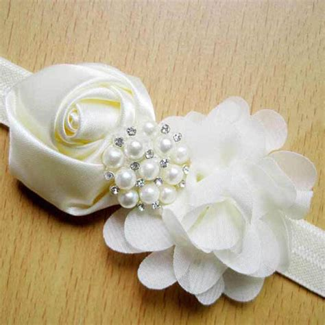 0278a0r South Flowers Pearl Pink aliexpress buy 6pcs satin flower headband with beaded pearl chiffon flower