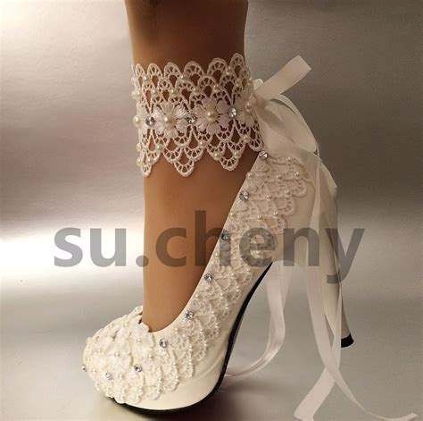 Wedding High Heels For Brides by 3 Quot 4 Quot Heel White Ivory Lace Ribbon Ankle Pearls Wedding