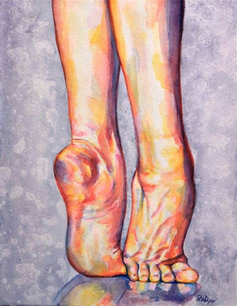 watercolor painting of dancing feet rise up