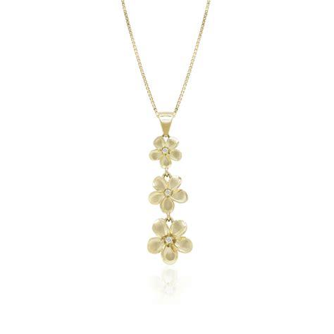 plumeria three flower pendant with diamonds