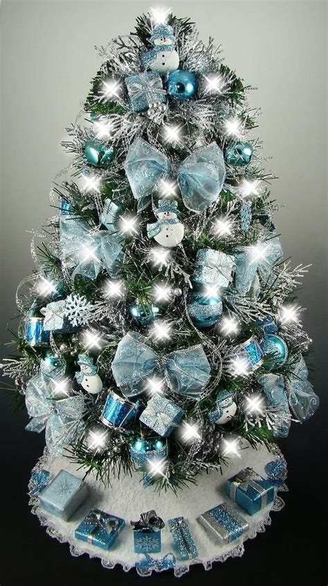 christmas trees tourquoise and silver decorated mini tabletop tree turquoise blue