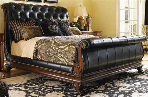 Leather Sleigh Bed Furniture Gt Bedroom Furniture Gt Sleigh Bed Gt Leather Mahogany Sleigh Bed