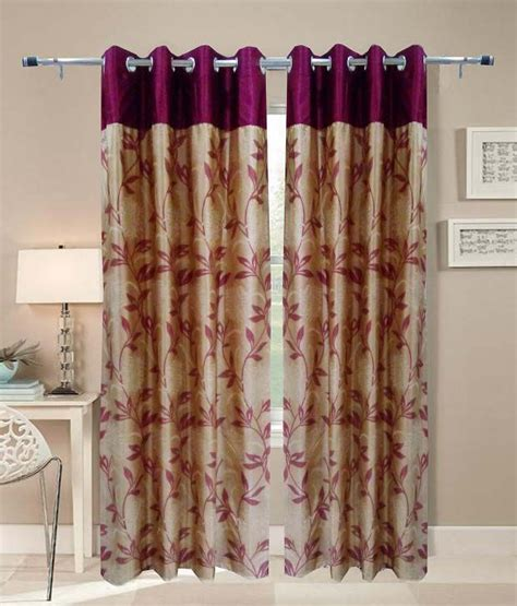 indian curtains online homefab india single window eyelet curtain floral red