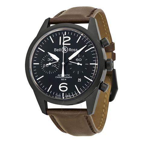 Bell Ross bell and ross black chronograph brown leather