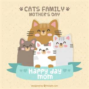 lovely card of cats family vector free