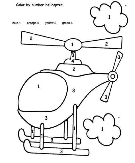 color by number preschool color by number helicopter crafts and worksheets for