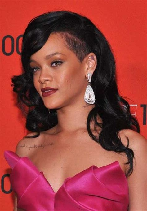 long side bangs and shaved side 20 rihanna with long hair hairstyles haircuts 2016 2017