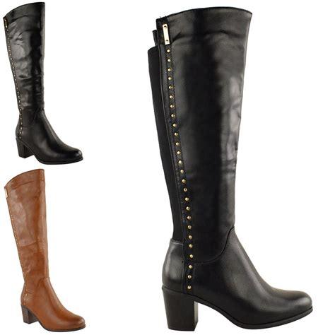 boots for big leg womens wide leg knee high mid calf block heel