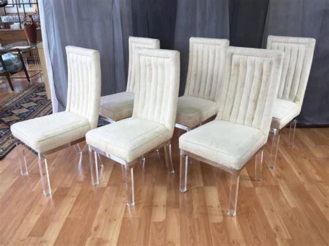 lucite dining room chairs six piece set of charles hollis jones lucite leg dining