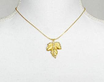 Rhinestone Maple Leaf Necklace maple leaf jewelry etsy