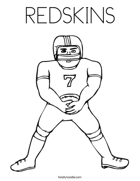 redskins coloring page twisty noodle