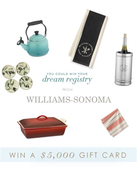 Williams Sonoma Gift Card Discount - wedding registry gifts under 100 win a 5 000 gift card from williams sonoma