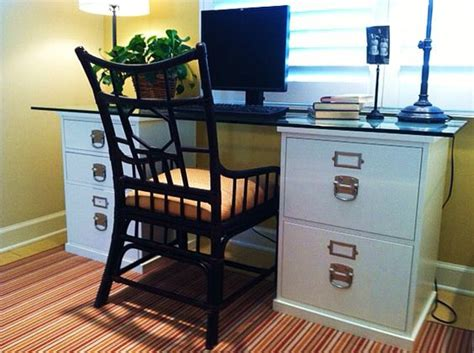 Easy Diy Desk Idea With Ugly File Cabinet Oo Good Idea Diy Desk With File Cabinets