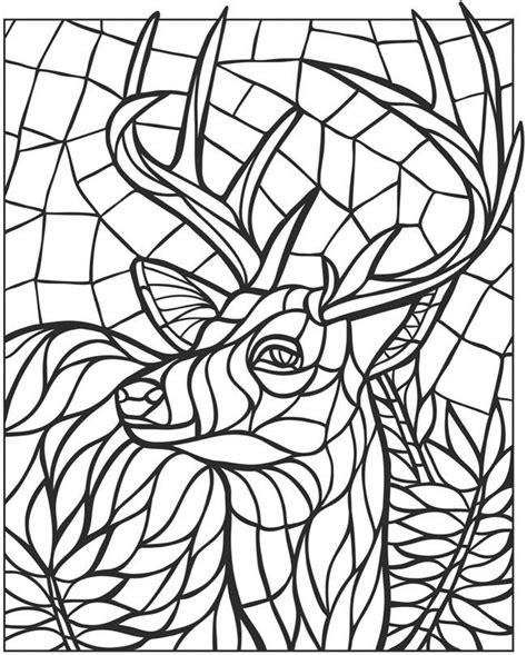 mosaic coloring books pages deer mandalas dover coloring coloring books animal