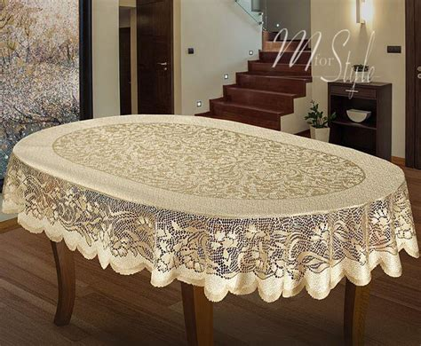 oval lace tablecloths uk oval tablecloth heavy lace golden beige large premium quality ebay