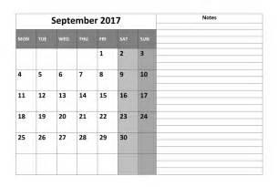 Calendar Template September 2017 Pdf September 2017 Printable Calendar Printable Calendar