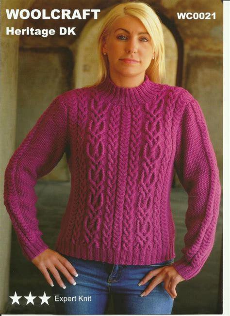 sweater pattern dk yarn woolcraft ladies sweater double knitting dk knitting