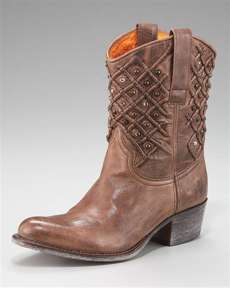 frye studded boots frye deborah studded boot in brown taupe lyst
