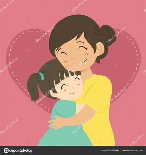 madre abrazando a su hijo mother and daughter hugging cartoon vector stock vector