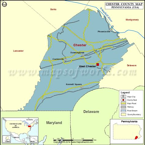 chester county map pennsylvania