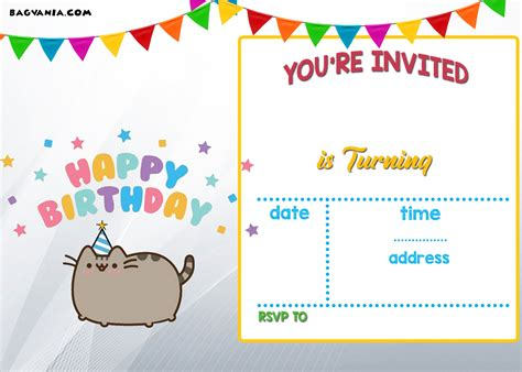 printable birthday party invitation cards free printable pusheen birthday invitation template