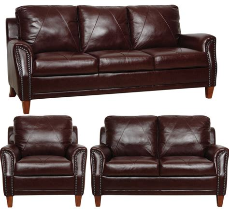 Burgundy Leather Sofa Set Burgundy Italian Leather 3 Living Room Sofa Set