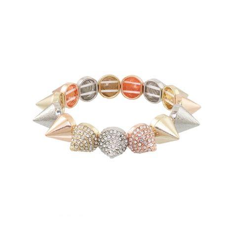 mixed metals mixed metal rhinestone spike bracelet