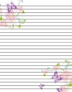 lined paper with poppy border butterflies free printable stationery for kids primary