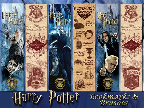 printable bookmarks harry potter harry potter bookmarks and brushes by aurorabor on deviantart
