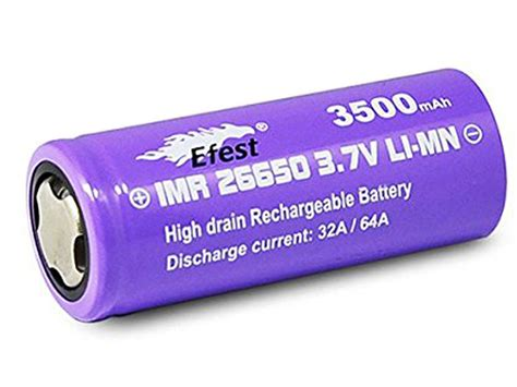 Efest Purple Imr 26650 Li Mn Battery 3500mah 3 7v 64a With Flat Top 26650v1 efest purple imr 26650 high drain rechargeable li ion battery