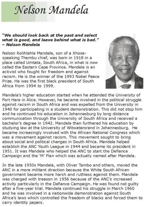nelson mandela esl biography grade 7 reading lesson 14 biographies nelson mandela 1