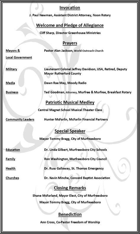 sample church programs for order of service