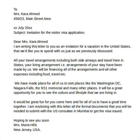 Support Letter For Tourist Visa Usa Cover Letter Exles In Italian