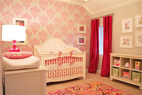 pink baby room using stencils in the nursery