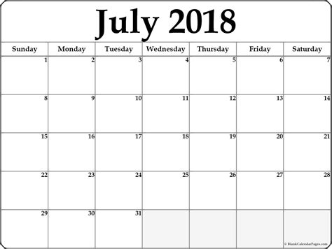 Galerry printable planner for july 2018