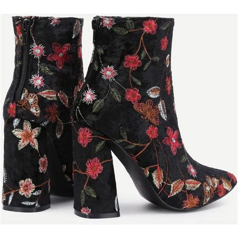pattern heels polyvore flower pattern block heeled ankle boots 360 sek liked on