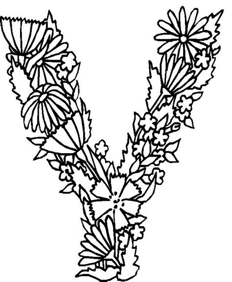 Letter Y Coloring Pages For Adults by N Kleurplaat Alfabet Bloemen V