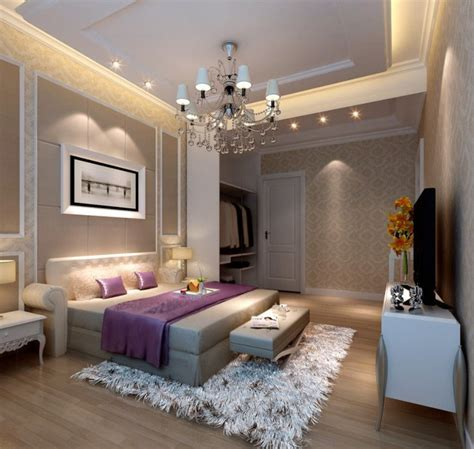 3d rendering neoclassical bedroom lighting 3d house