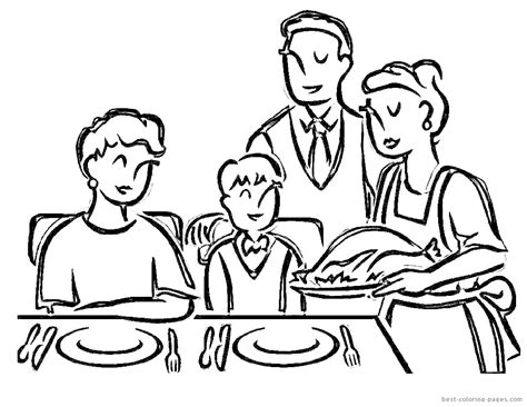 family dinner coloring page sketch of eating at the dinner table coloring pages