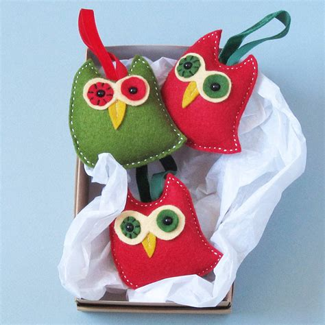 Handmade Felt Decorations - three handmade felt owl decorations by