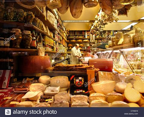 Cheese Di Supermarket delicatessen food store with cheese ham wine in the via