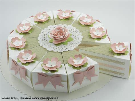 kuchen verpacken stempelhandwerk kalorienarme torte als geldgeschenk zur