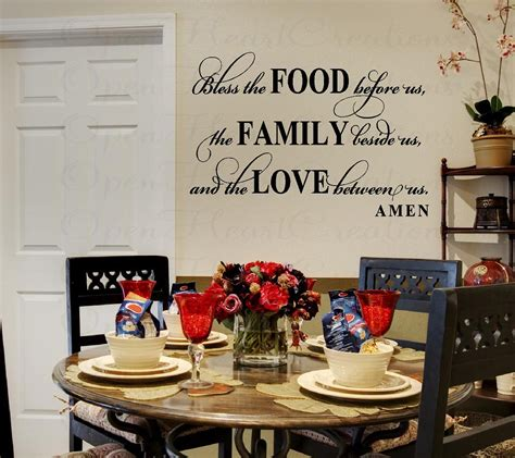 Wall Decals For Dining Room Bless This Food Before Us Wall Decal Dining By Openheartcreations