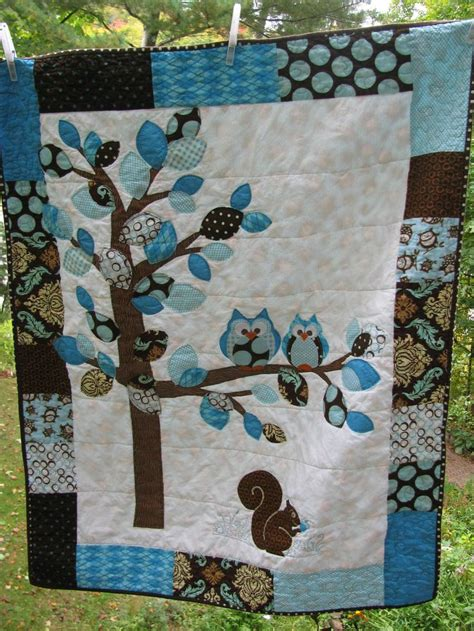 blue pattern casual baby quilt baby boy woodland double owl quilt of flannel cotton in