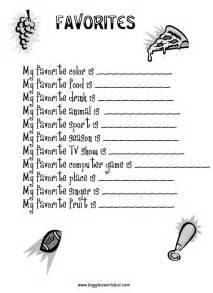 My favorite things worksheet favorites