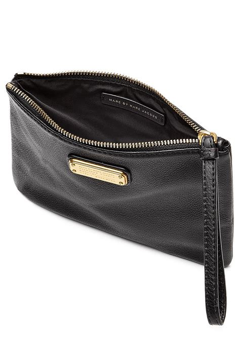 Marc By Marc Leather Clutch by Marc By Marc Zipped Leather Clutch Black In Black