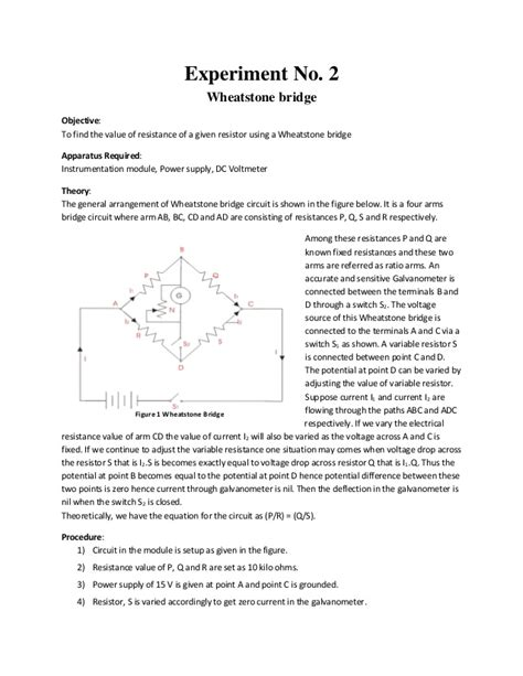 wheatstone bridge discussion av335 instrumentation lab report